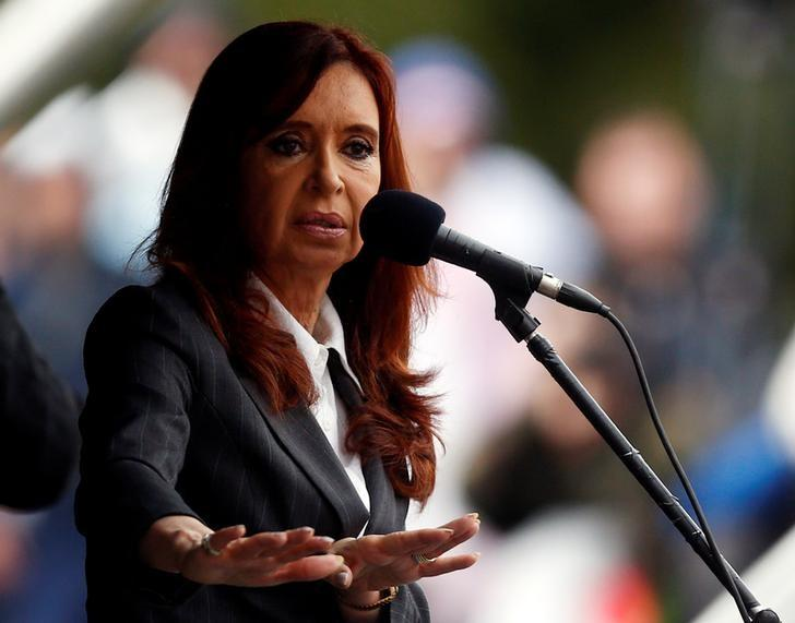 Former Argentine President Cristina Fernandez de Kirchner speaks during a rally outside a Justice building in Buenos Aires, Argentina, April 13, 2016. REUTERS/Marcos Brindicci