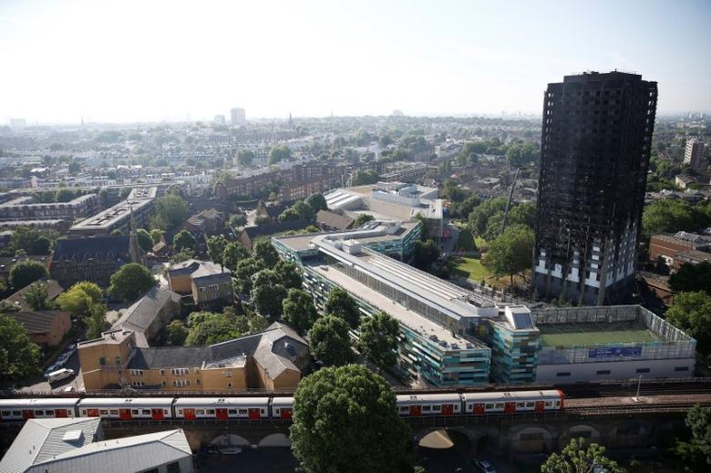 Damage is seen to a tower block which was destroyed in a fire disaster, in north Kensington, West London, Britain June 15, 2017. REUTERS/Peter Nicholls