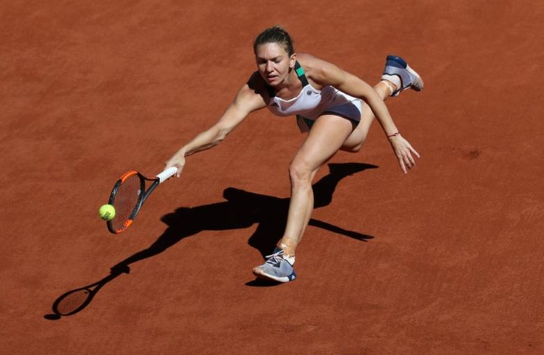 Romania's Simona Halep in action during the final against Latvia's Jelena Ostapenko. REUTERS/Pascal Rossignol