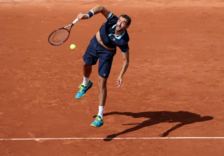 Tennis - French Open - Roland Garros, Paris, France - June 7, 2017   Croatia's Marin Cilic in action during his quarter final match against Switzerland's Stan Wawrinka   Reuters / Pascal Rossignol