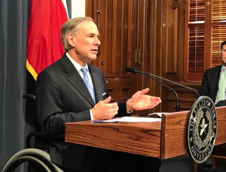 FILE PHOTO: Texas Governor Greg Abbott speaks at a news conference in Austin, Texas, U.S., June 6, 2017.  REUTERS/Jon Herskovitz