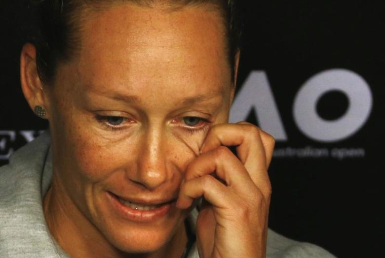 Australia's Samantha Stosur reacts during a news conference ahead of the Australian Open tennis tournament in Melbourne, Australia, January 15, 2017. REUTERS/Edgar Su