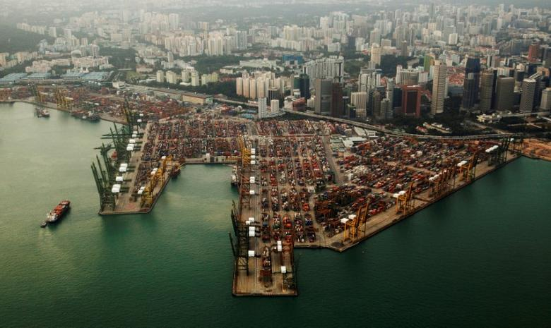 An aerial view of shipping containers stacked at the port of Singapore February 14, 2012. REUTERS/Edgar Su/Files