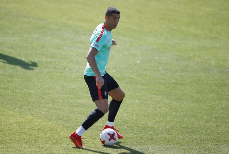 Football Soccer - Portugal training session - 2017 Confederations Cup - Oeiras, Portugal - 14/06/17 - Portugal's national soccer team player Cristiano Ronaldo attends a training session.  REUTERS/Rafael Marchante