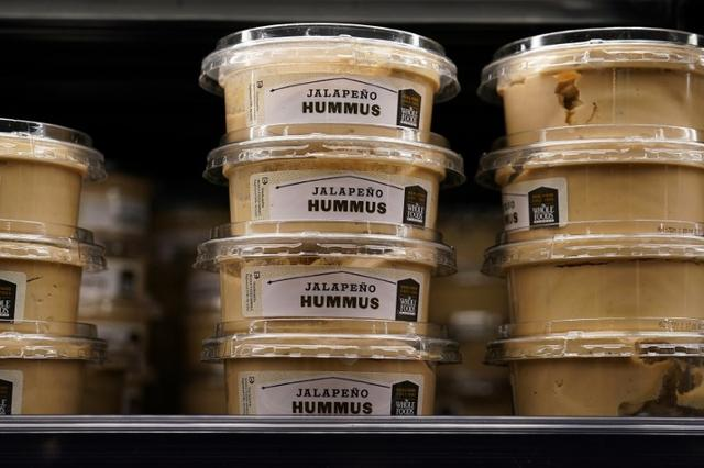 Hummus for sale is pictured inside a Whole Foods Market in the Manhattan borough of New York City, New York, U.S. June 16, 2017.   REUTERS/Carlo Allegri