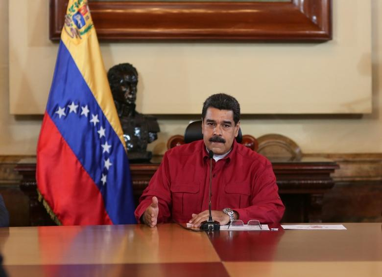 Venezuela's President Nicolas Maduro speaks during a meeting with ministers in Caracas, Venezuela June 16, 2017. Miraflores Palace/Handout via REUTERS