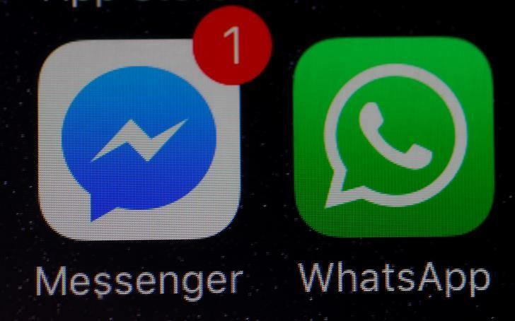 WhatsApp and Facebook messenger icons are seen on an iPhone in Manchester , Britain March 27, 2017. REUTERS/Phil Noble