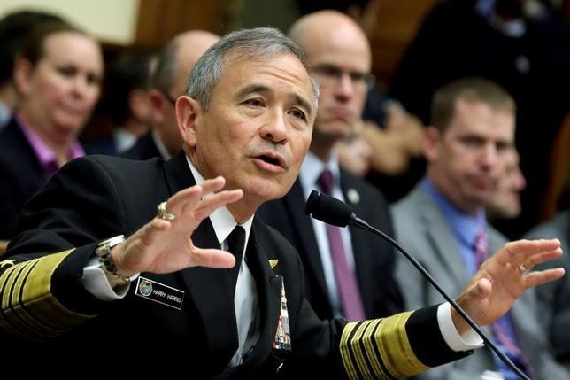 6月16日、米太平洋軍のハリス司令官(写真)は来年5月にも交代する見通しだ。2人の米当局者が明らかにした。写真は4月ワシントンで撮影(2017年 ロイター/Yuri Gripas)