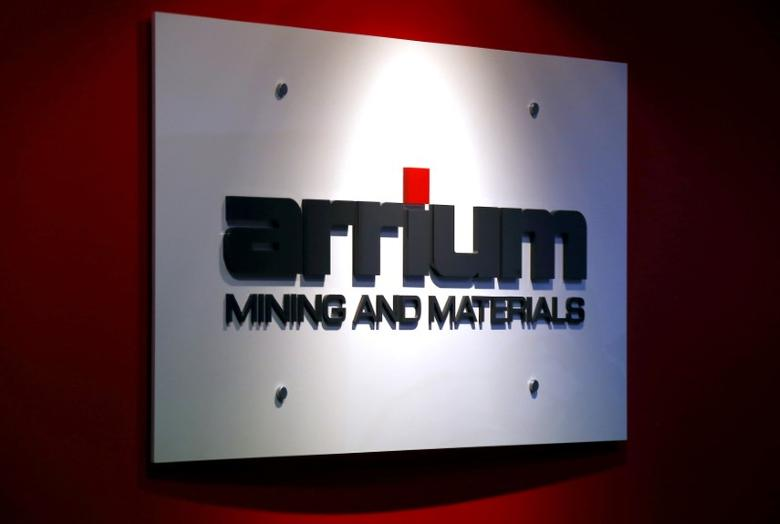 FILE PHOTO: The logo of Australian miner Arrium Ltd is displayed in the reception area of their office in Sydney, Australia, April 7, 2016.   REUTERS/David Gray/File Photo
