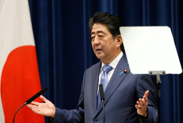 Japan's Prime Minister Shinzo Abe attends a news conference after close of regular parliament session at his official residence in Tokyo, Japan, June 19, 2017. REUTERS/Toru Hanai