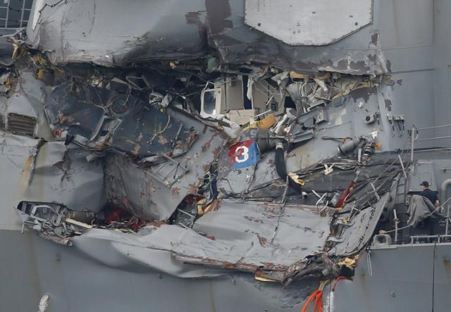 The damaged USS Fitzgerald. REUTERS/Toru Hanai