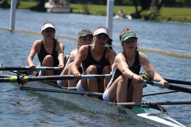 The Surbiton High School Boat Club compete in a race at the Henley WomenÕs Regatta in Henley-on-Thames, Britain, June 17, 2017. Picture taken June17, 2017.  REUTERS/Jeremy Gaunt