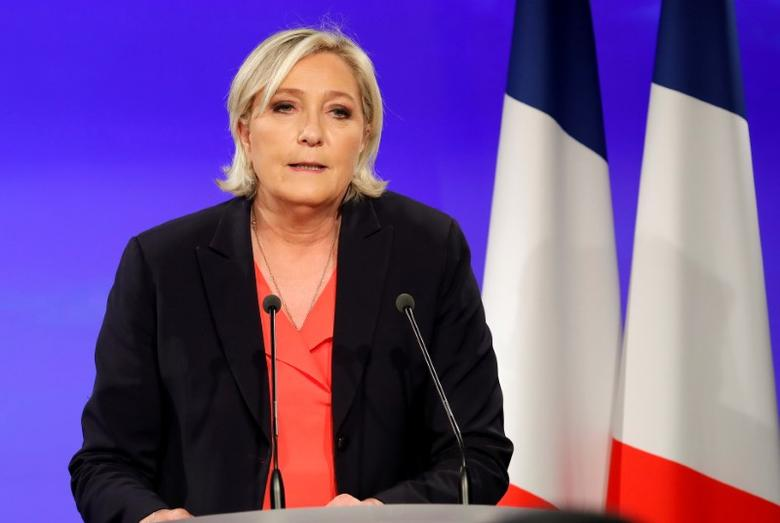 FILE PHOTO: Marine Le Pen, French National Front (FN) political party candidate for French 2017 presidential election, concedes defeat at the Chalet du Lac in the Bois de Vincennes in Paris after the second round of 2017 French presidential election, France, May 7, 2017.    REUTERS/Charles Platiau
