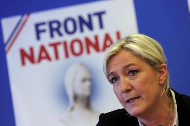 Marine Le Pen, France's National Front political party head, attends a news conference at the party's headquarters in Nanterre, near Paris, France, May 27, 2014. REUTERS/Philippe Wojazer/Files