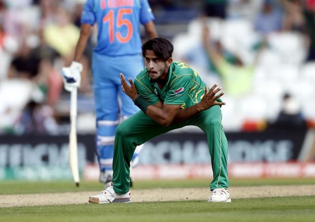 Britain Cricket - Pakistan v India - 2017 ICC Champions Trophy Final - The Oval - June 18, 2017 Pakistan's Hasan Ali celebrates taking the wicket of India's Ravichandran Ashwin Action Images via Reuters / Andrew Boyers Livepic