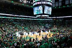FILE PHOTO - May 25, 2017; Boston, MA, USA; The Boston Celtics dance team waves flags before the start of game five of the Eastern conference finals of the NBA Playoffs against the Cleveland Cavaliers at the TD Garden. Mandatory Credit: Greg M. Cooper-USA TODAY Sports