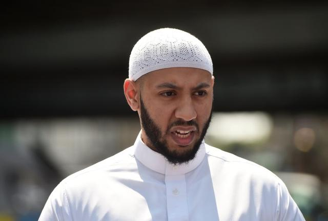 Mohammed Mahmud, the imam of the Muslim Welfare House, speaks to journalists about the van that driven was driven at Muslims in Finsbury Park, North London, Britain, June 19, 2017. REUTERS/Hannah McKay
