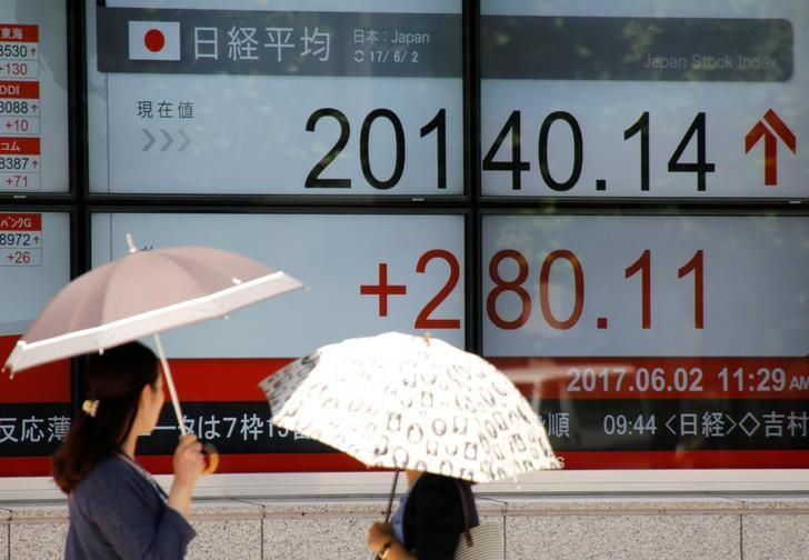 Women holding parasols, look at an electronic board showing Japan's Nikkei average outside a brokerage in Tokyo, Japan June 2, 2017.   REUTERS/Toru Hanai     TPX IMAGES OF THE DAY