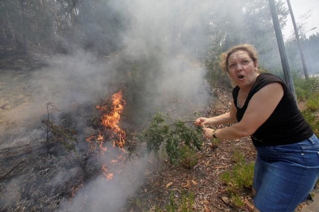 A woman uses a branch with leaves to try to put out flames from a forest fire in Castanheira de Pera, Portugal, June 20, 2017. REUTERS/Miguel Vidal