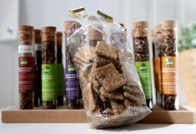 Biscuits made of crickets are seen at a farm belonging to company 'Little Food,' which prepares and promotes food products made from crickets, in Brussels, Belgium June 9, 2017. Francois Lenoir