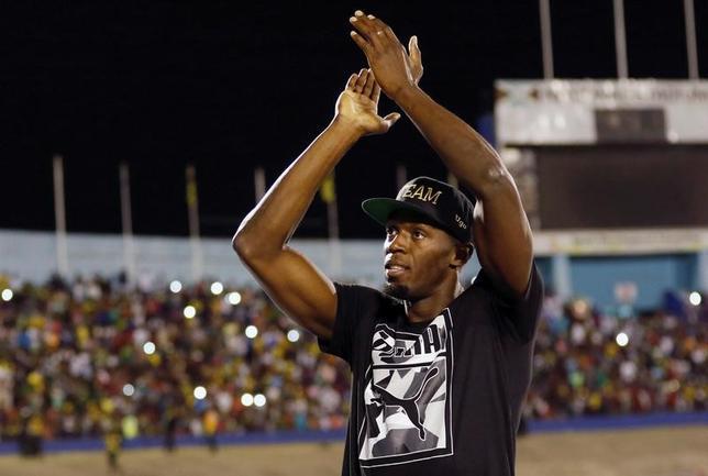 6月22日、陸上男子100メートル、200メートルで五輪3連覇のウサイン・ボルト(ジャマイカ)が、7月21日にモナコで行われるダイヤモンドリーグの100メートルに出場する。10日撮影(2017年 ロイター/Gilbert Bellamy)