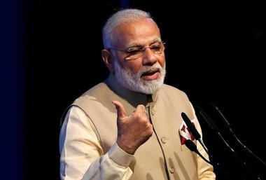 India's Prime Minister Modi speaks during the United Nations Vesak Day...