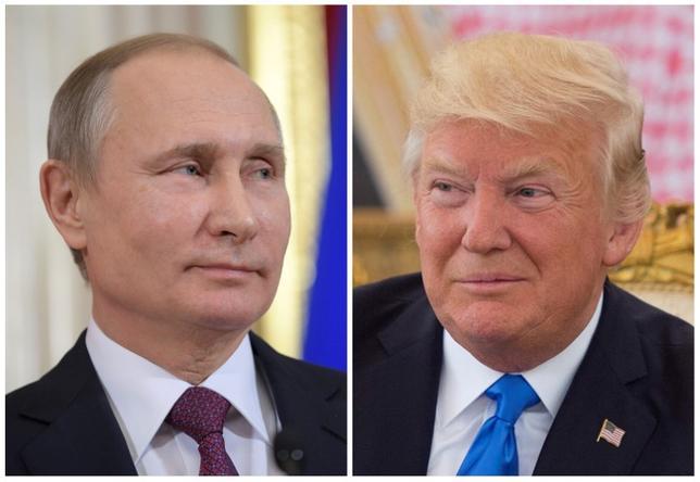 FILE PHOTO: Tổng thống Nga Vladimir Putin tham dự một cuộc họp báo tại Kremlin ở Moscow, Nga vào ngày 17 tháng 1 năm 2017 và Tổng thống Hoa Kỳ Donald Trump đã nhìn thấy tại lễ đón tiếp tại Riyadh, Saudi Arabia, vào ngày 20 tháng 5 năm 2017, Hình ảnh kết hợp. Sputnik / Alexei Druzhinin / Kremlin qua REUTERS và Bandar Algaloud / Được phép của Tòa án Hoàng gia Ả Rập Saudi / Tài liệu phát hành / Hình ảnh qua REUTERS