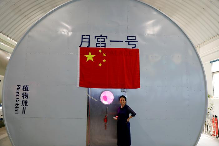 Liu Hong, chief designer of the Lunar Palace 365 Project stands outside a simulated space cabin in which volunteers temporarily live as a part of the project at Beihang University in Beijing, China July 9, 2017. Damir Sagolj