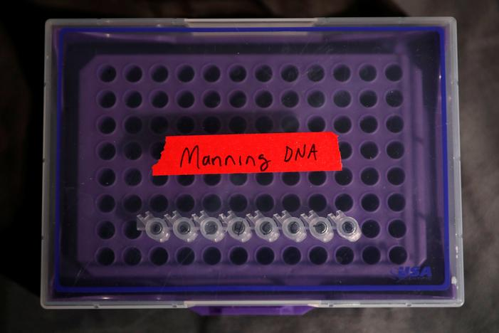 A container of DNA extracted from hair clippings and cheek swabs received from formerly imprisoned U.S. Army Private Chelsea Manning is seen inside the studio of Artist Heather Dewey-Hagborg who used the DNA to create 3-D printed masks for the August 2, 2017 opening of 'A Becoming Resemblance', an exhibition at the Fridman gallery in New York City, July 7, 2017. Mike Segar
