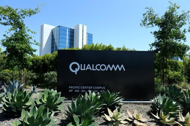 A Qualcomm sign is pictured at one of its many campus buildings in San Diego, California, U.S. April 18, 2017.  REUTERS/Mike Blake