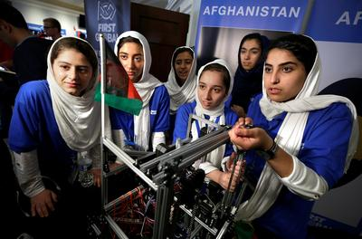 Afghan girls compete at Robot Olympics