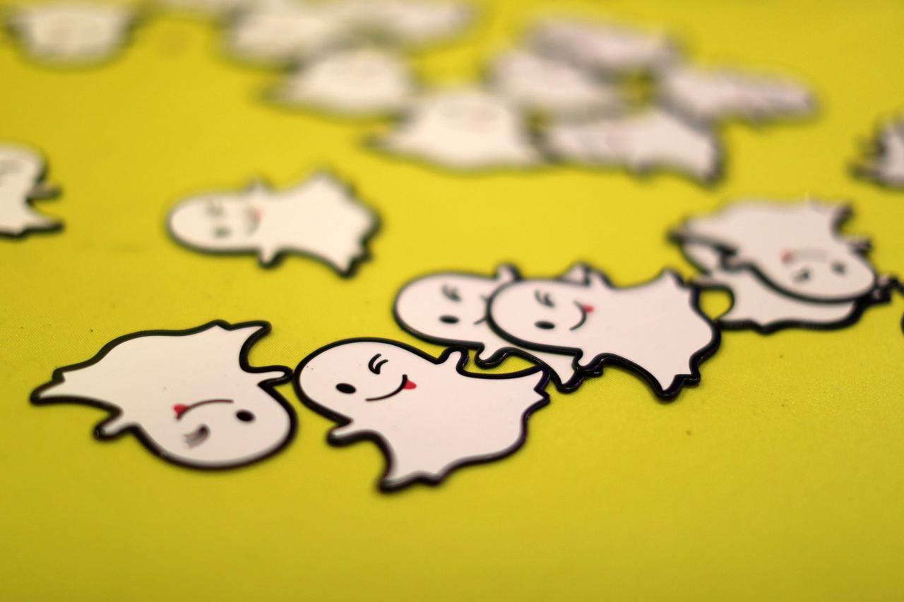 File Photo: The Logo Of Messaging App Snapchat Is Seen At A Booth At  Techfair La, A Technology Job Fair, In Los Angeles, California, Us,  January 26, 2017