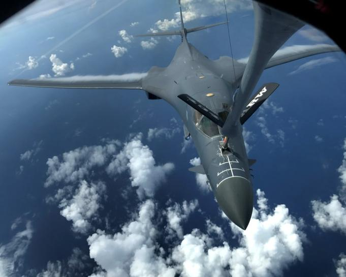 Japanese fighters conducted air drills with US B-1B bombers on Tuesday