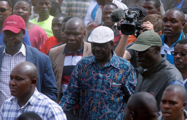 Opposition leader Raila Odinga arrives to address supporters in the Kibera slum, Nairobi, Kenya August 13, 2017. REUTERS/Thomas Mukoya