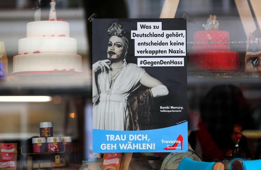 In their best red stilettos, German transvestites stomp on AfD