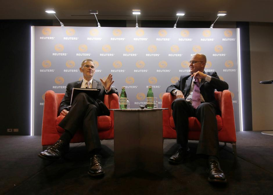 L Speaks Alongside Reuters Correspondent John Mair At A Newsmaker Event In Sydney Australia September 12 2017 REUTERS Steven Saphore