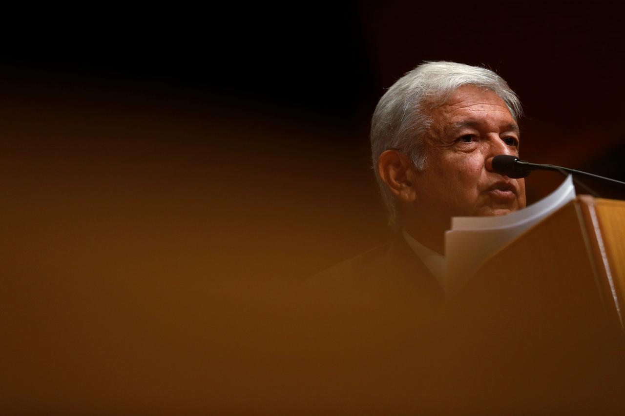 File photo mexico presidential candidate andres manuel lopez obrador of the movement for national renewal morena party delivers remarks at the wilson
