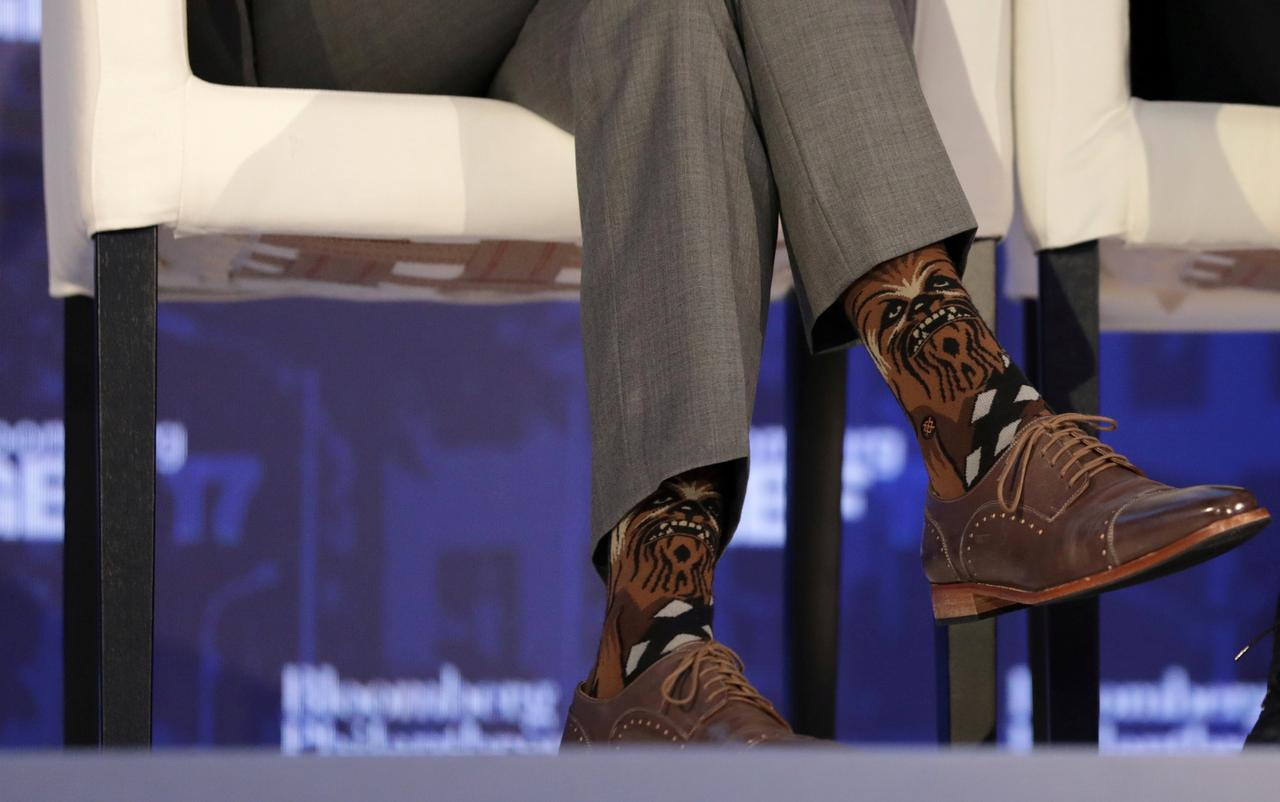 FILE PHOTO: Justin Trudeau, Prime Minister of Canada, wears Chewbacca socks  while participating in a panel discussion at a Bloomberg Global Business  Forum ... - Canada's Trudeau Sparks Star Wars/Star Trek Spat With Chewbacca Socks