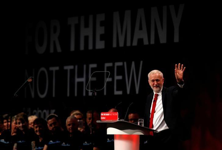 Britain's opposition Labour Party Leader Jeremy Corbyn delivers his keynote speech at the Labour Party Conference in Brighton, September 27, 2017. Peter Nicholls