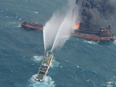 Iranian oil tanker ablaze in East China Sea