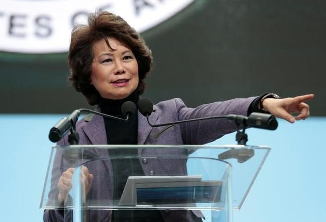 FILE PHOTO: U.S. Secretary of Transportation Elaine Chao speaks ahead of Press Days of the North American International Auto Show at Cobo Center in Detroit, Michigan, U.S., January 14, 2018. REUTERS/Rebecca Cook