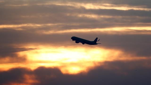 FILE PHOTO: A plane is seen during sunrise at the international airport in Munich, Germany, January 9, 2018.    REUTERS/Michaela Rehle - RC1E5B4C2870/File Photo