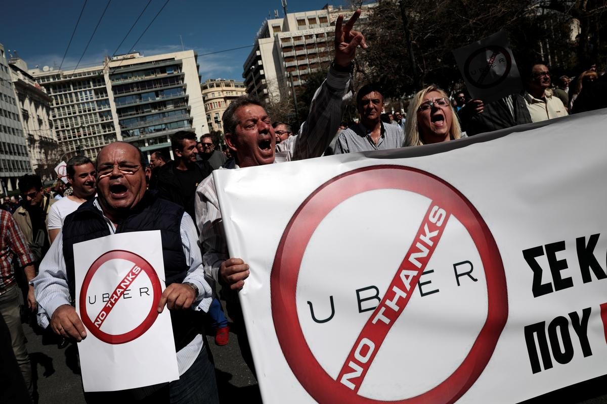 Taxi Drivers Protest Against Uber 'Invasion' in Greece