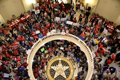 Oklahoma teachers walk out