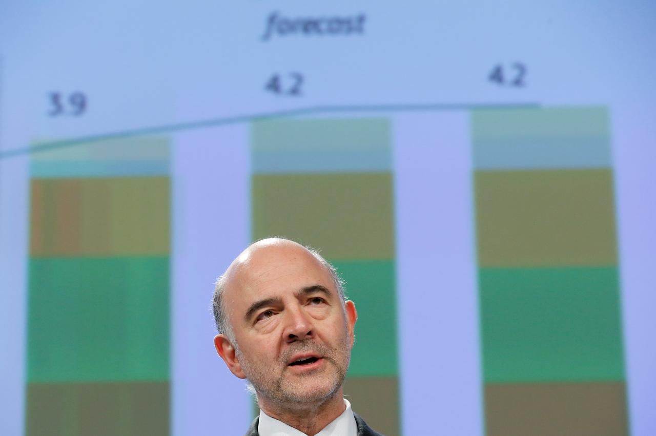 European Commissioner For Economic And Financial Affairs Pierre Moscovici Presents The Eu Executive S Spring Forecasts During A News Conference At