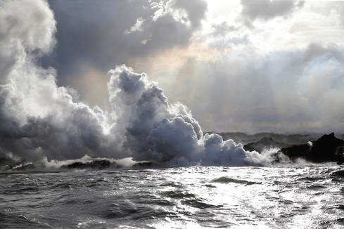 New lava stream reaches Pacific Ocean