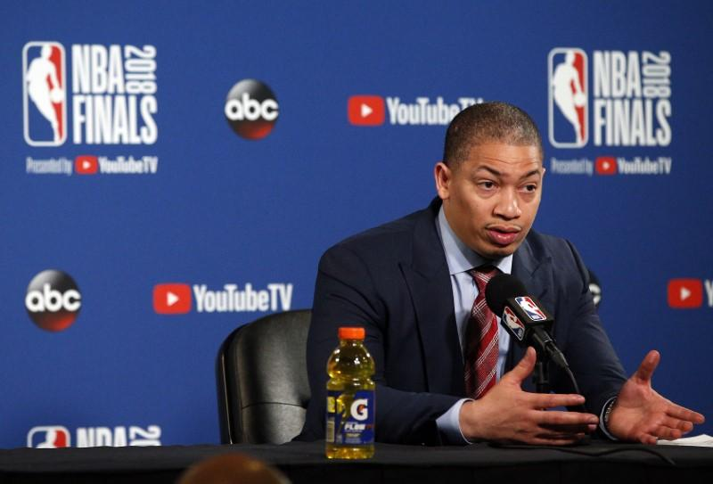 Nba despite loss cavs say they have blueprint to defeat warriors head coach tyronn lue speaks with media following game one of the 2018 nba finals at oracle arena mandatory credit cary edmondson usa today sports malvernweather Images