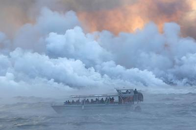 Hawaii lava pours into ocean