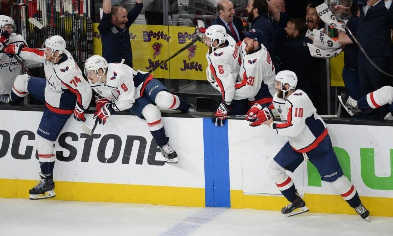 Jun 7 2018 Las Vegas NV USA Washington Capitals Players Celebrate After Defeating The Golden Knights In Game Five Of Stanley Cup Final