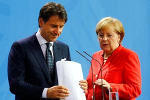 German Chancellor Merkel and Italian PM Conte hold a news conference at the...